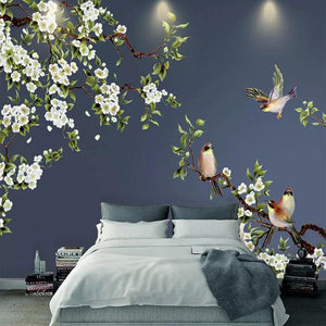 3D Waterproof Chinese Flowers and Birds Wall Mural from Gallery Wallrus | Eclectic Wall Art & Decor with Worldwide Shipping