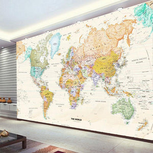 Cool Classic World Map Wall Mural from Gallery Wallrus | Eclectic Wall Art & Decor with Worldwide Shipping