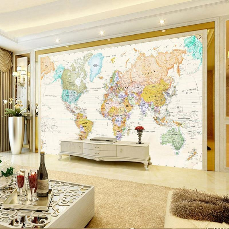 3D Stereo World Map Wall Mural from Gallery Wallrus | Eclectic Wall Art & Decor with Worldwide Shipping