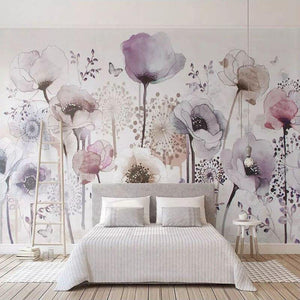 Large Pink Tulips Wall Mural from Gallery Wallrus | Eclectic Wall Art & Decor with Worldwide Shipping