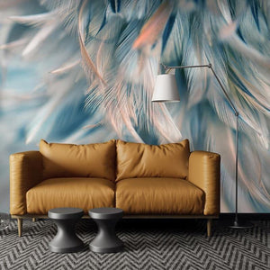 Watercolor Blue 3D Hanging Feather Art Wall Mural from Gallery Wallrus | Eclectic Wall Art & Decor with Worldwide Shipping