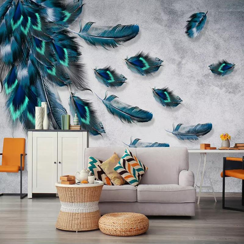 3D Peacock Blue Green Feathers Wall Mural from Gallery Wallrus | Eclectic Wall Art & Decor with Worldwide Shipping