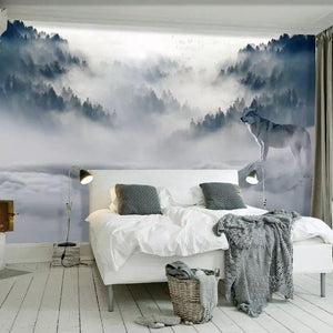 Foggy Mountain Forest Wolf Wall Mural from Gallery Wallrus | Eclectic Wall Art & Decor with Worldwide Shipping
