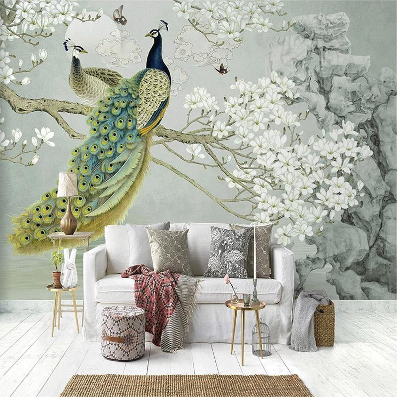 3D Magnolia Flowers Peacock Wall Mural from Gallery Wallrus | Eclectic Wall Art & Decor with Worldwide Shipping
