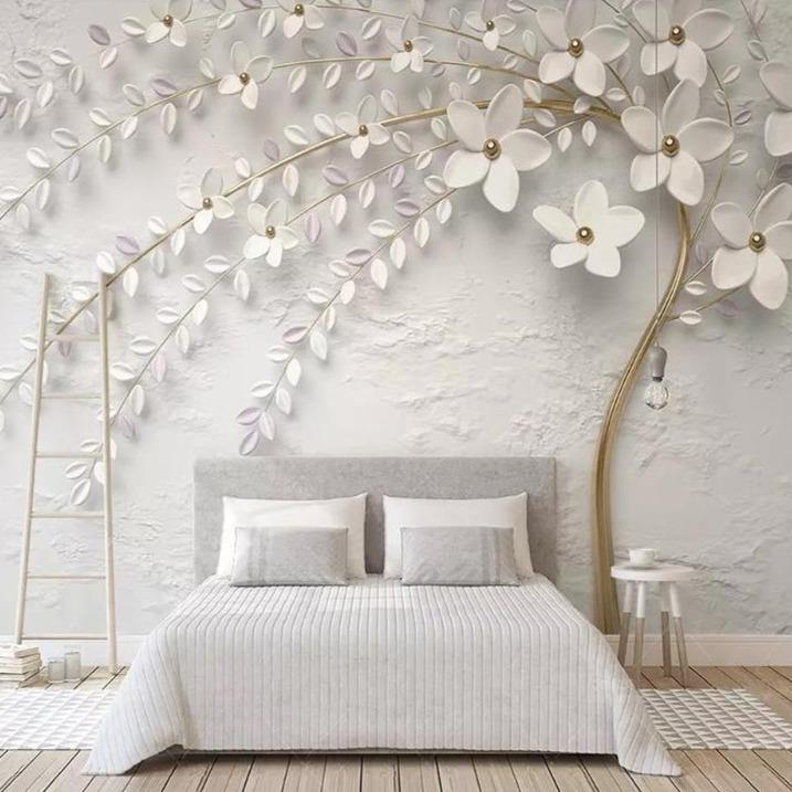 White Gold Embossed Flowers Wall Mural from Gallery Wallrus | Eclectic Wall Art & Decor with Worldwide Shipping