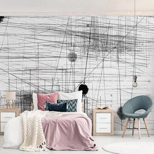 Black and White Abstract Line Scratches Wall Mural from Gallery Wallrus | Eclectic Wall Art & Decor with Worldwide Shipping