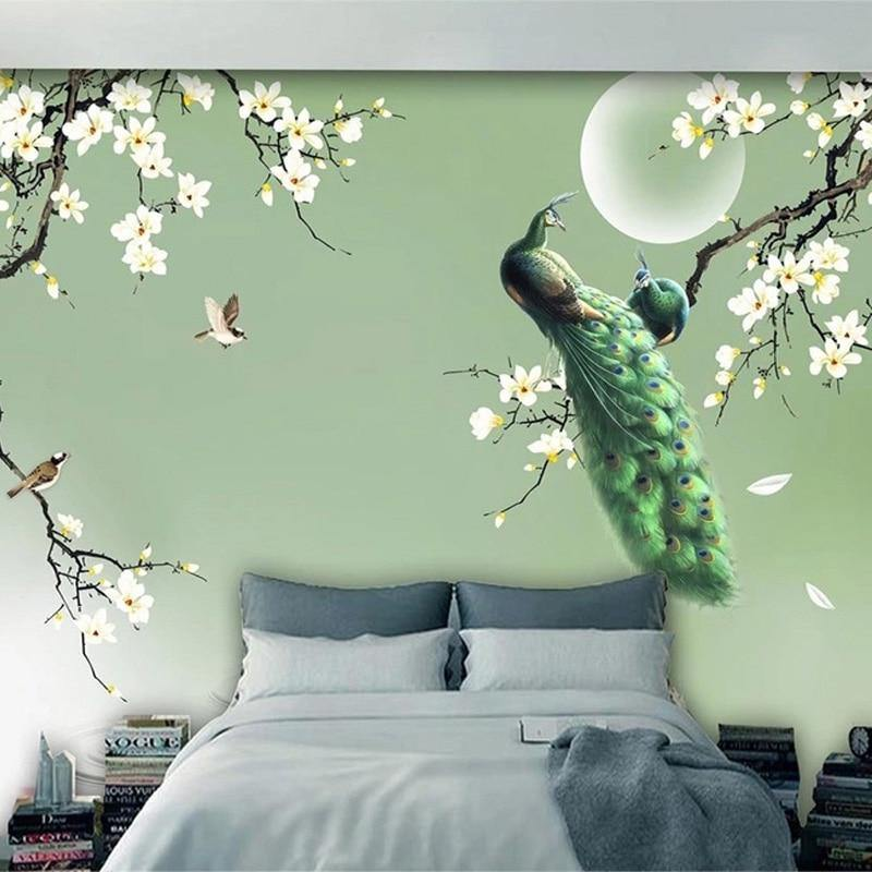 Magnolia Green Peacock Nature Wall Mural from Gallery Wallrus | Eclectic Wall Art & Decor with Worldwide Shipping