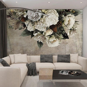 Vintage Floral Ash White Wall Mural from Gallery Wallrus | Eclectic Wall Art & Decor with Worldwide Shipping