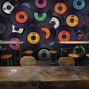 Vintage Vinyl Music Records Wall Mural from Gallery Wallrus | Eclectic Wall Art & Decor with Worldwide Shipping