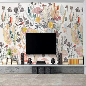 Multi Colors Flowers Plant Birds Asian Tropical Mural from Gallery Wallrus | Eclectic Wall Art & Decor with Worldwide Shipping