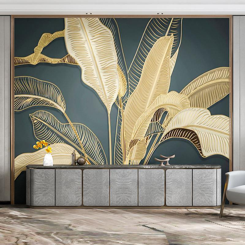 Embossed Gold Lines Large Banana Leaves Luxury Wall Mural from Gallery Wallrus | Eclectic Wall Art & Decor with Worldwide Shipping