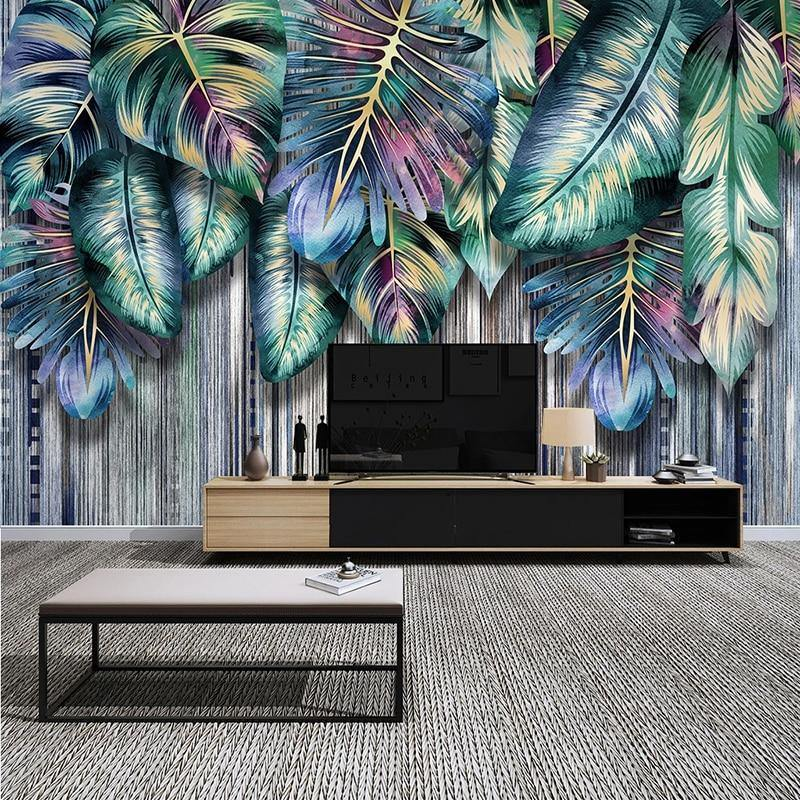 Modern Dazzle Color Plant Leaves Wall Mural from Gallery Wallrus | Eclectic Wall Art & Decor with Worldwide Shipping