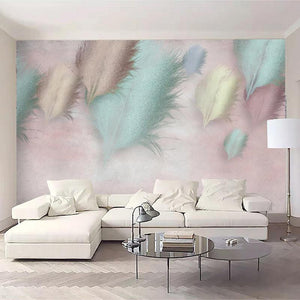Mint Blue and Purple Modern Big Feathers Wall Mural from Gallery Wallrus | Eclectic Wall Art & Decor with Worldwide Shipping