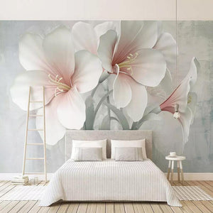 Large White Hibiscus Flowers Wall Mural from Gallery Wallrus | Eclectic Wall Art & Decor with Worldwide Shipping