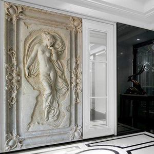 Embossed Naked Woman Statue Wall Mural from Gallery Wallrus | Eclectic Wall Art & Decor with Worldwide Shipping