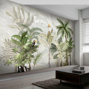 Green and Ash White Nature Plants Birds Tropical Marble Wall Mural from Gallery Wallrus | Eclectic Wall Art & Decor with Worldwide Shipping