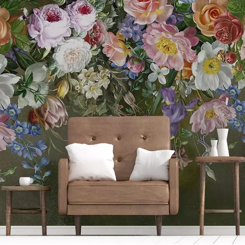Vintage Colorful Painted Rose Flowers Wall Mural from Gallery Wallrus | Eclectic Wall Art & Decor with Worldwide Shipping
