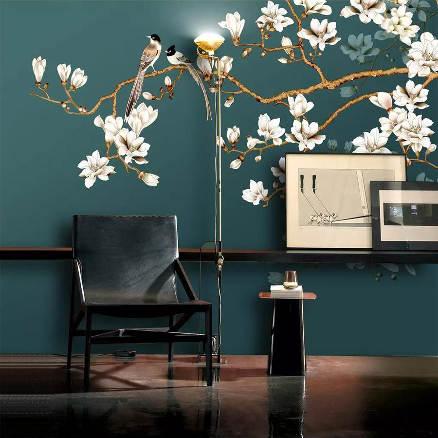 Dark Green Chinese Style Birds and Flowers Wall Mural from Gallery Wallrus | Eclectic Wall Art & Decor with Worldwide Shipping