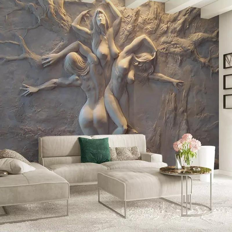 3D Embossed Three Naked Women Beauty Wall Mural from Gallery Wallrus | Eclectic Wall Art & Decor with Worldwide Shipping