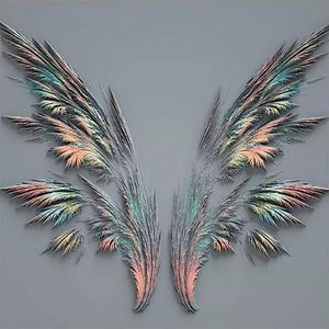 Embossed Abstract Pastel Feather Wings Wall Mural from Gallery Wallrus | Eclectic Wall Art & Decor with Worldwide Shipping