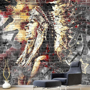 Wood Grain Bricks Traditional Indian Wall Mural from Gallery Wallrus | Eclectic Wall Art & Decor with Worldwide Shipping