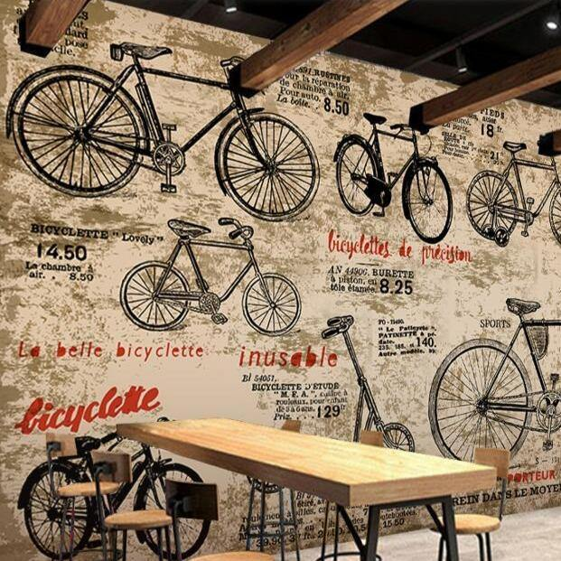 Vintage Bicycles 3D Retro Wall Mural from Gallery Wallrus | Eclectic Wall Art & Decor with Worldwide Shipping