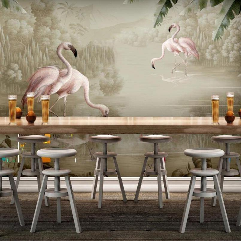Vintage Gold Brown Flamingo Wall Mural from Gallery Wallrus | Eclectic Wall Art & Decor with Worldwide Shipping