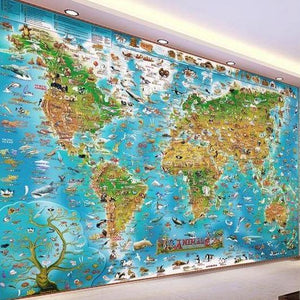 Sea Animals World Map Wall Mural from Gallery Wallrus | Eclectic Wall Art & Decor with Worldwide Shipping