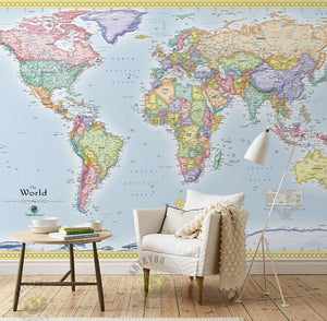 The World Map Waterproof Wall Mural from Gallery Wallrus | Eclectic Wall Art & Decor with Worldwide Shipping