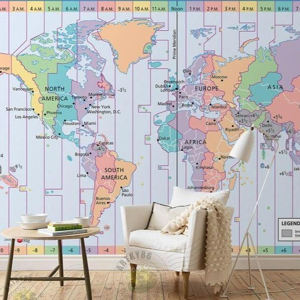 Pastel World Map Time Zone Waterproof Wall Mural from Gallery Wallrus | Eclectic Wall Art & Decor with Worldwide Shipping
