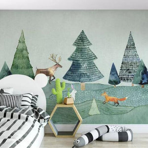 Forest Animals Mural from Gallery Wallrus | Eclectic Wall Art & Decor with Worldwide Shipping
