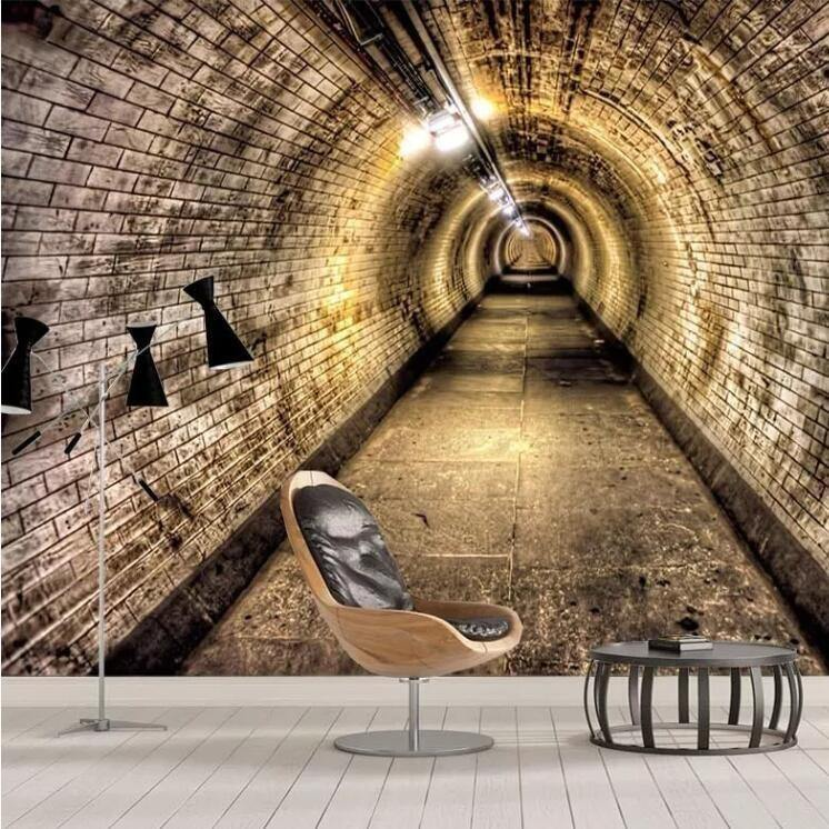 Brick Wall Tunnel Wall Mural from Gallery Wallrus | Eclectic Wall Art & Decor with Worldwide Shipping