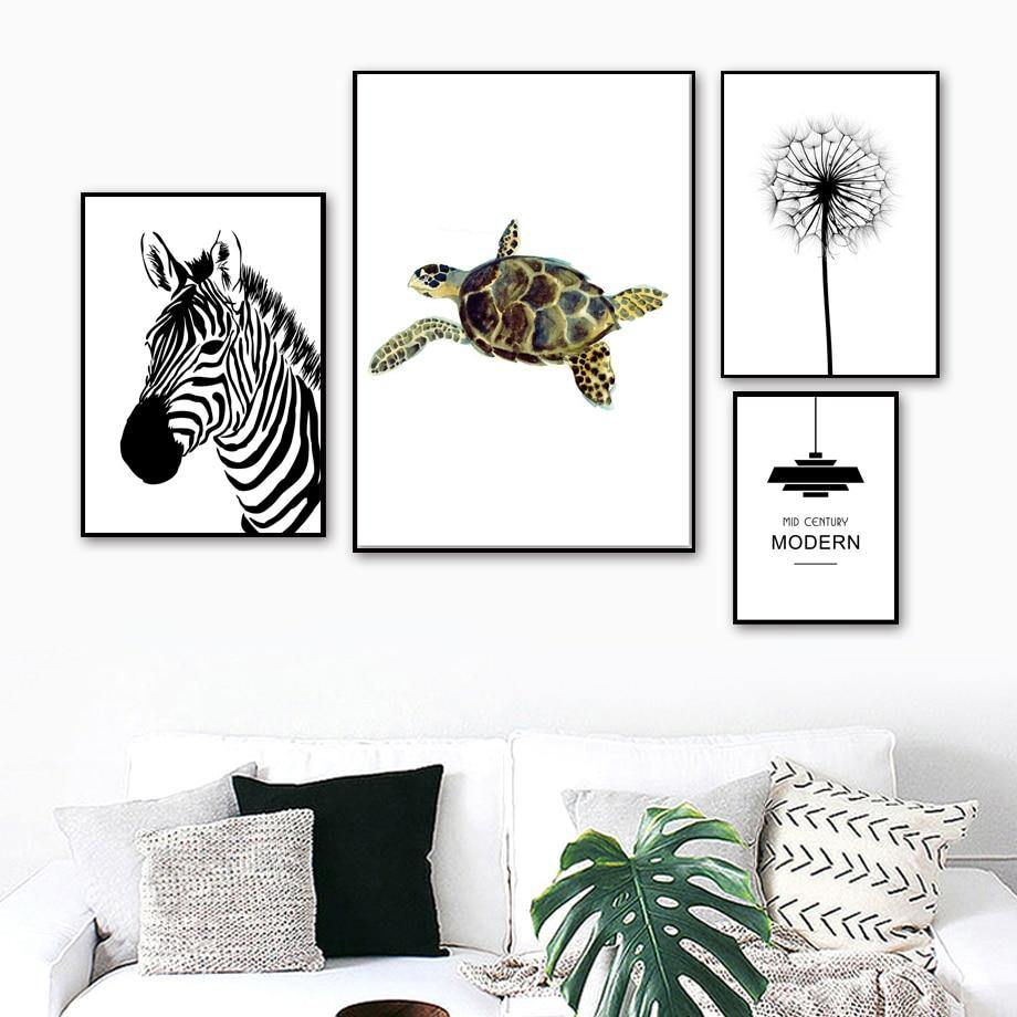 Dandelion Zebra Turtle Banana Leaf Gallery Wall Art Prints from Gallery Wallrus | Eclectic Wall Art & Decor with Worldwide Shipping