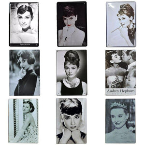 Vintage Black & White Audrey Hepburn Metal Wall Posters (Mix & Match) from Gallery Wallrus | Eclectic Wall Art & Decor with Worldwide Shipping
