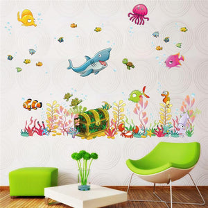 Deep Sea Shark Animals Child Wall Stickers from Gallery Wallrus | Eclectic Wall Art & Decor with Worldwide Shipping