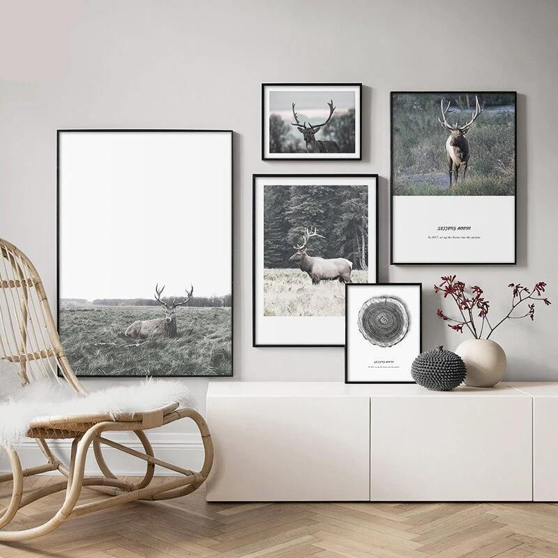 Denmark Black & White Photography Deer Landscape Gallery Wall Art from Gallery Wallrus | Eclectic Wall Art & Decor with Worldwide Shipping