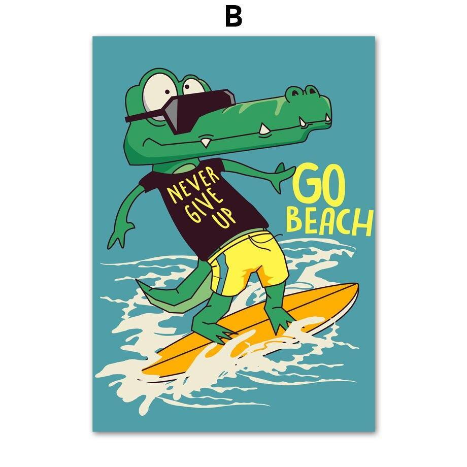 Dinosaur Bear Crocodile Surfing Kids Wall Art Prints from Gallery Wallrus | Eclectic Wall Art & Decor with Worldwide Shipping