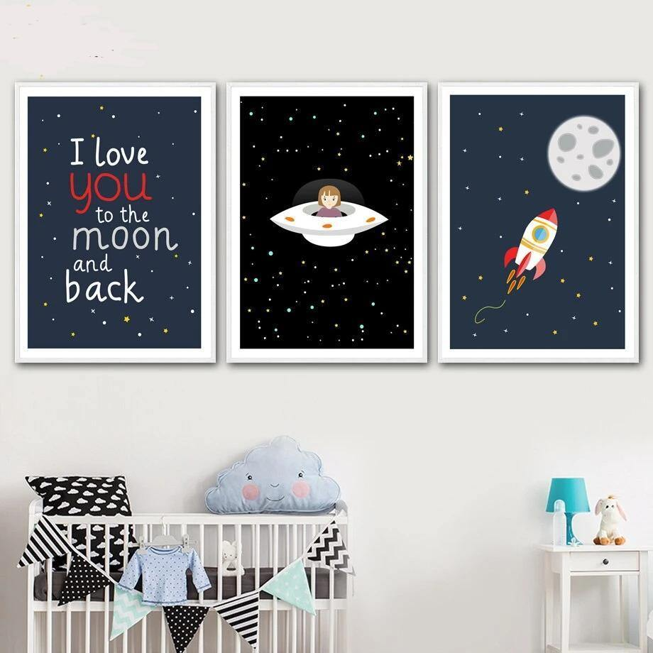 Moon Rocket Space Children's Room Art Print Set from Gallery Wallrus | Eclectic Wall Art & Decor with Worldwide Shipping