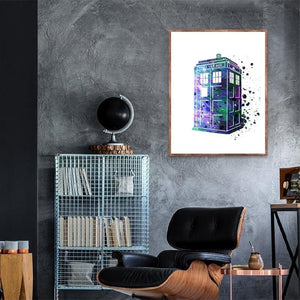 Doctor Who Abstract Blue Paintings from Gallery Wallrus | Eclectic Wall Art & Decor with Worldwide Shipping
