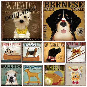 Retro Dog Breed Metal Wall Art Signs from Gallery Wallrus | Eclectic Wall Art & Decor with Worldwide Shipping