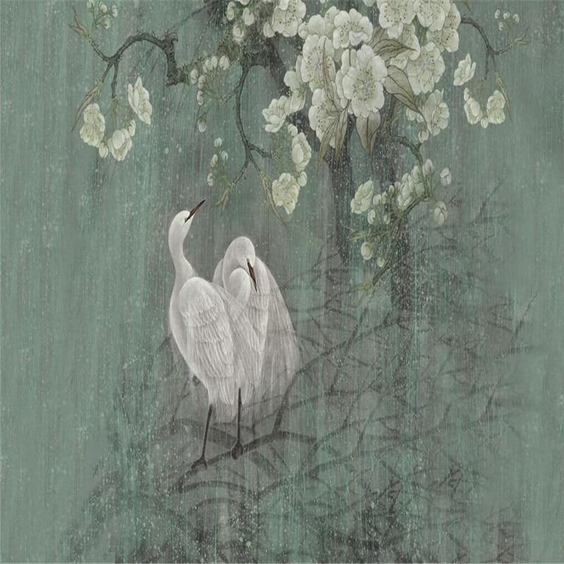 Vintage Chinese Egret Bird Wall Art Mural from Gallery Wallrus | Eclectic Wall Art & Decor with Worldwide Shipping