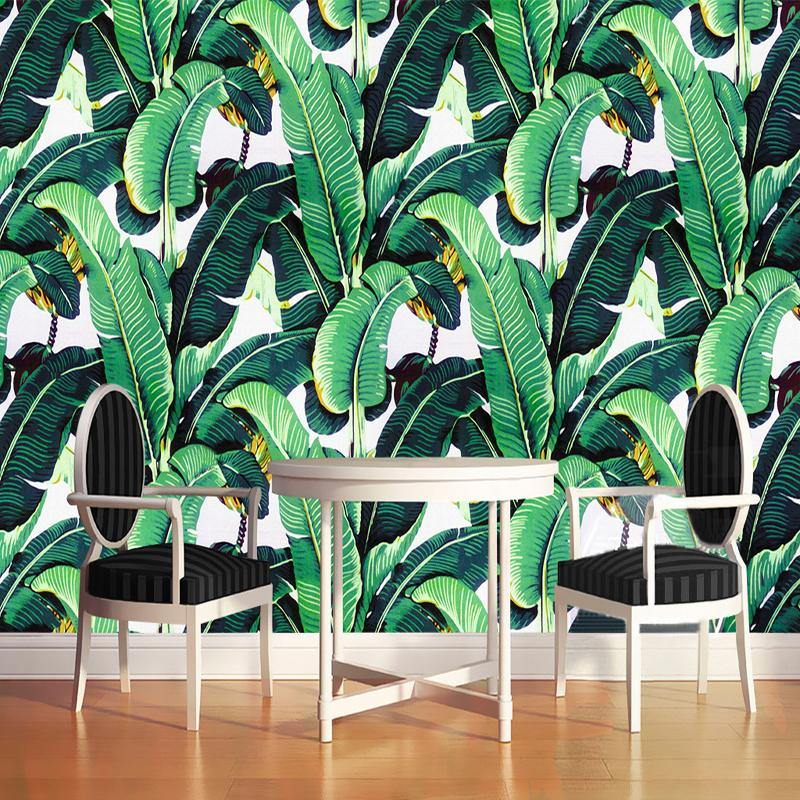 Green Tropical Banana Leaves Wall Mural from Gallery Wallrus | Eclectic Wall Art & Decor with Worldwide Shipping