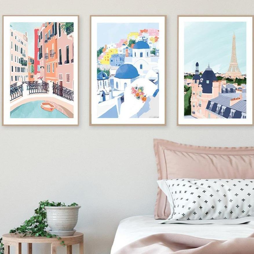 Different Famous Countries Art Print Illustrations from Gallery Wallrus | Eclectic Wall Art & Decor with Worldwide Shipping