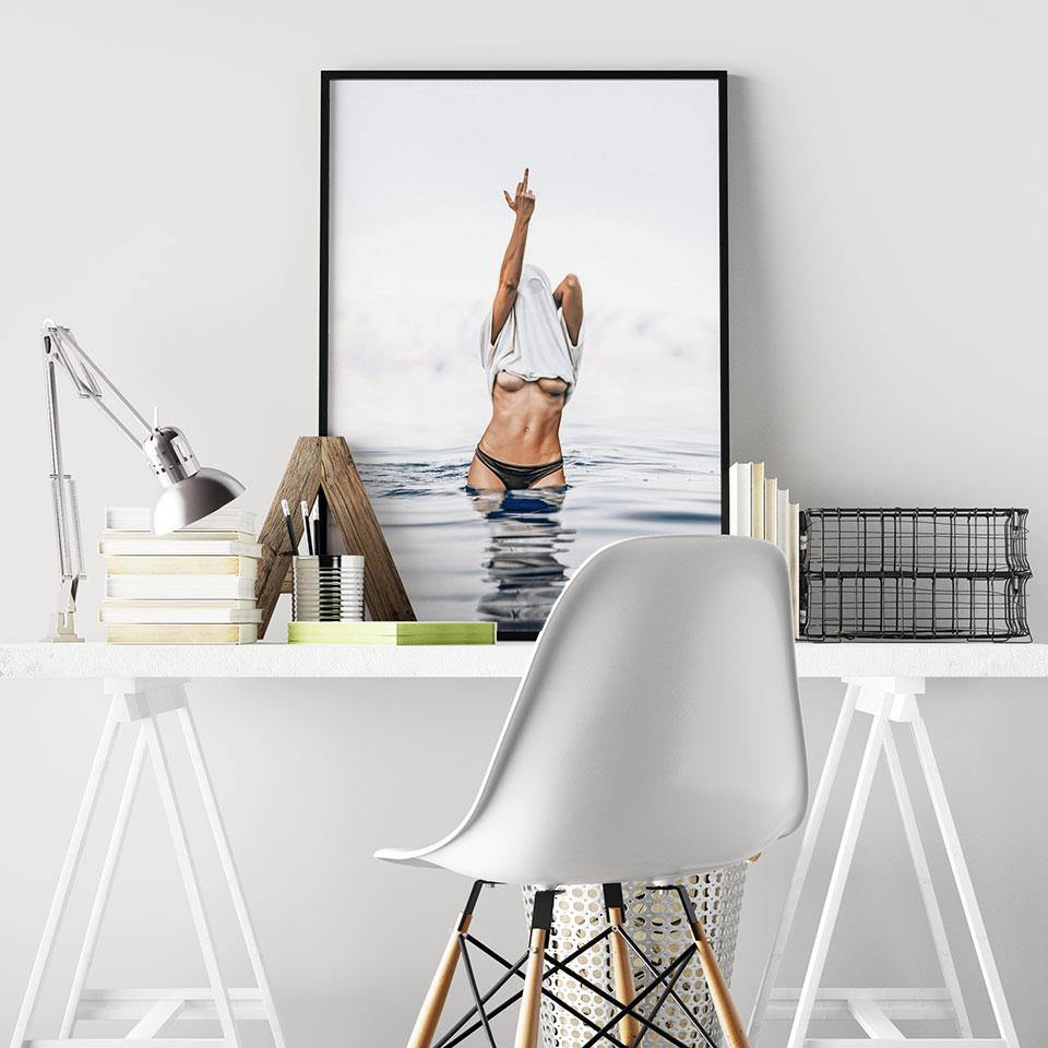 Sexy Female Middle Finger Art Picture from Gallery Wallrus | Eclectic Wall Art & Decor with Worldwide Shipping