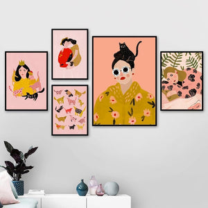 Yellow Palette Hipster Girl And Cat Paintings Mix & Match Gallery Wall from Gallery Wallrus | Eclectic Wall Art & Decor with Worldwide Shipping