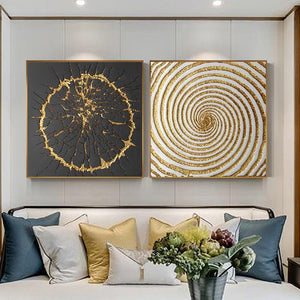 Black And Gold Square Burst Circle Art Duo from Gallery Wallrus | Eclectic Wall Art & Decor with Worldwide Shipping