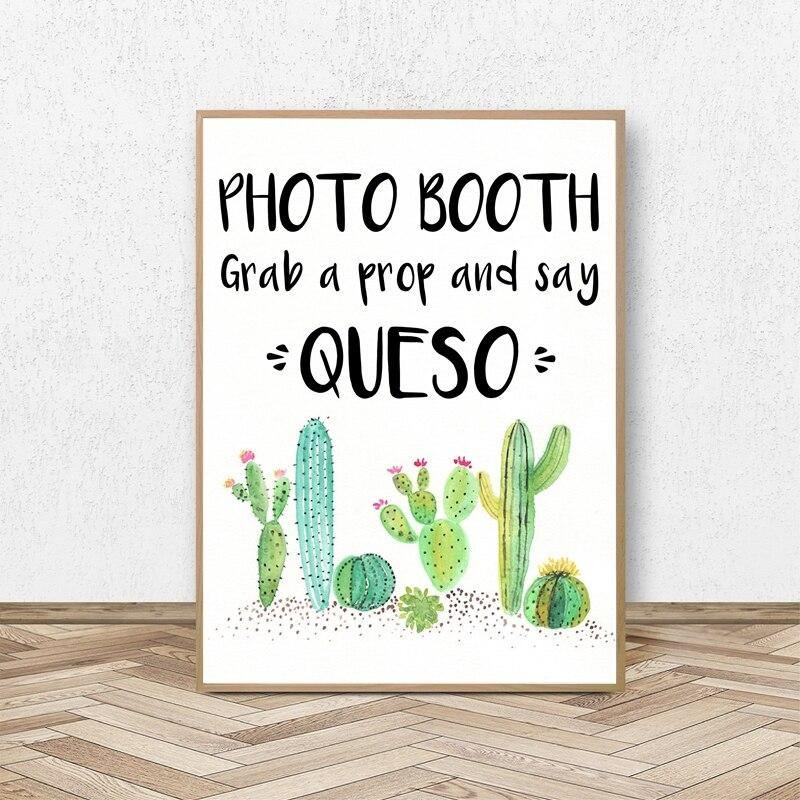 Fun Cactus Photo Booth Sign Art Print from Gallery Wallrus | Eclectic Wall Art & Decor with Worldwide Shipping
