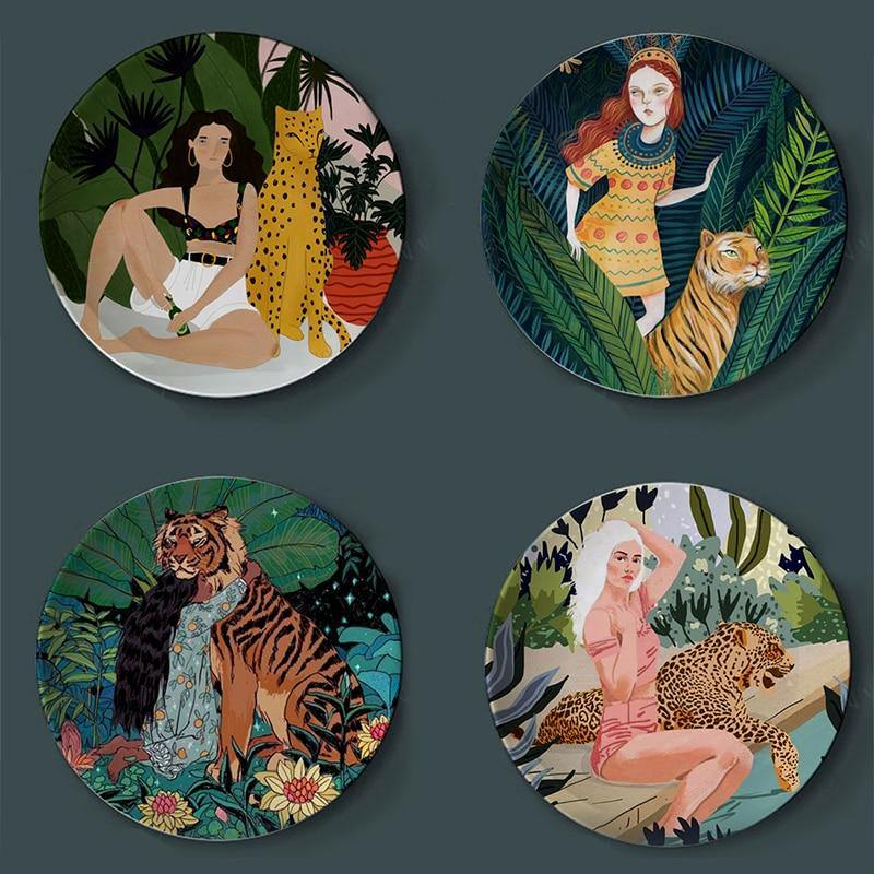 Watercolor Bohemian Illustration Wall Plate Decors from Gallery Wallrus | Eclectic Wall Art & Decor with Worldwide Shipping