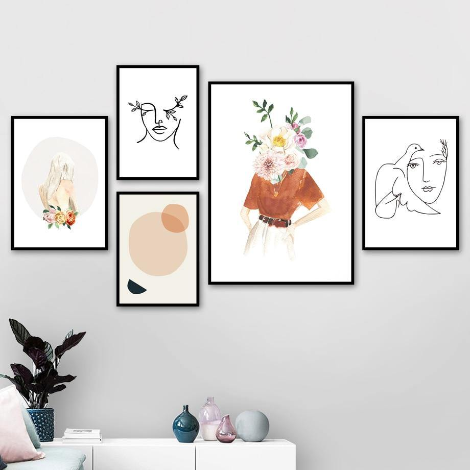 Flower Girl Face Line Abstract illustration Wall Art Canvas Painting Nordic Posters AndPrints Wall Picture For Living Room Decor from Gallery Wallrus | Eclectic Wall Art & Decor with Worldwide Shipping