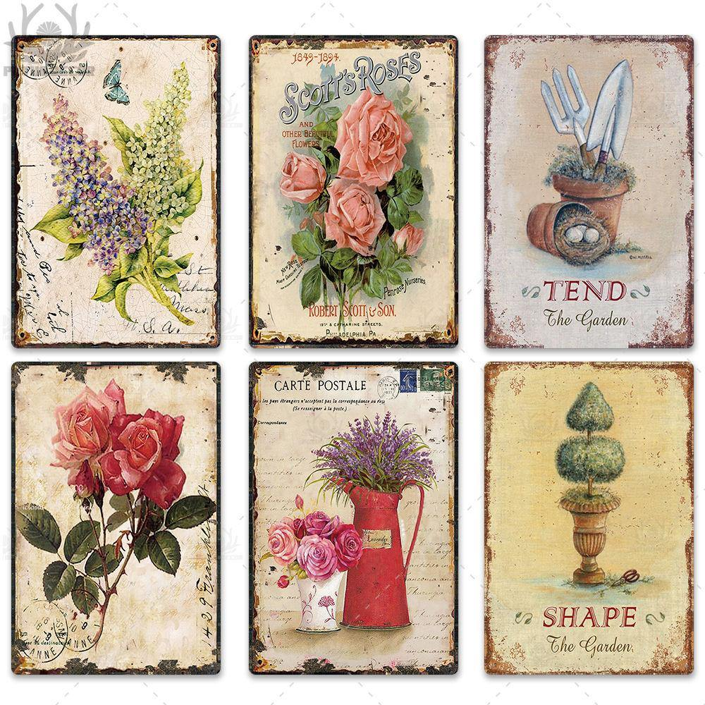 Shabby Chic Plants Metal Wall Signs from Gallery Wallrus | Eclectic Wall Art & Decor with Worldwide Shipping
